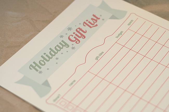 Free Holiday Gift List Printable