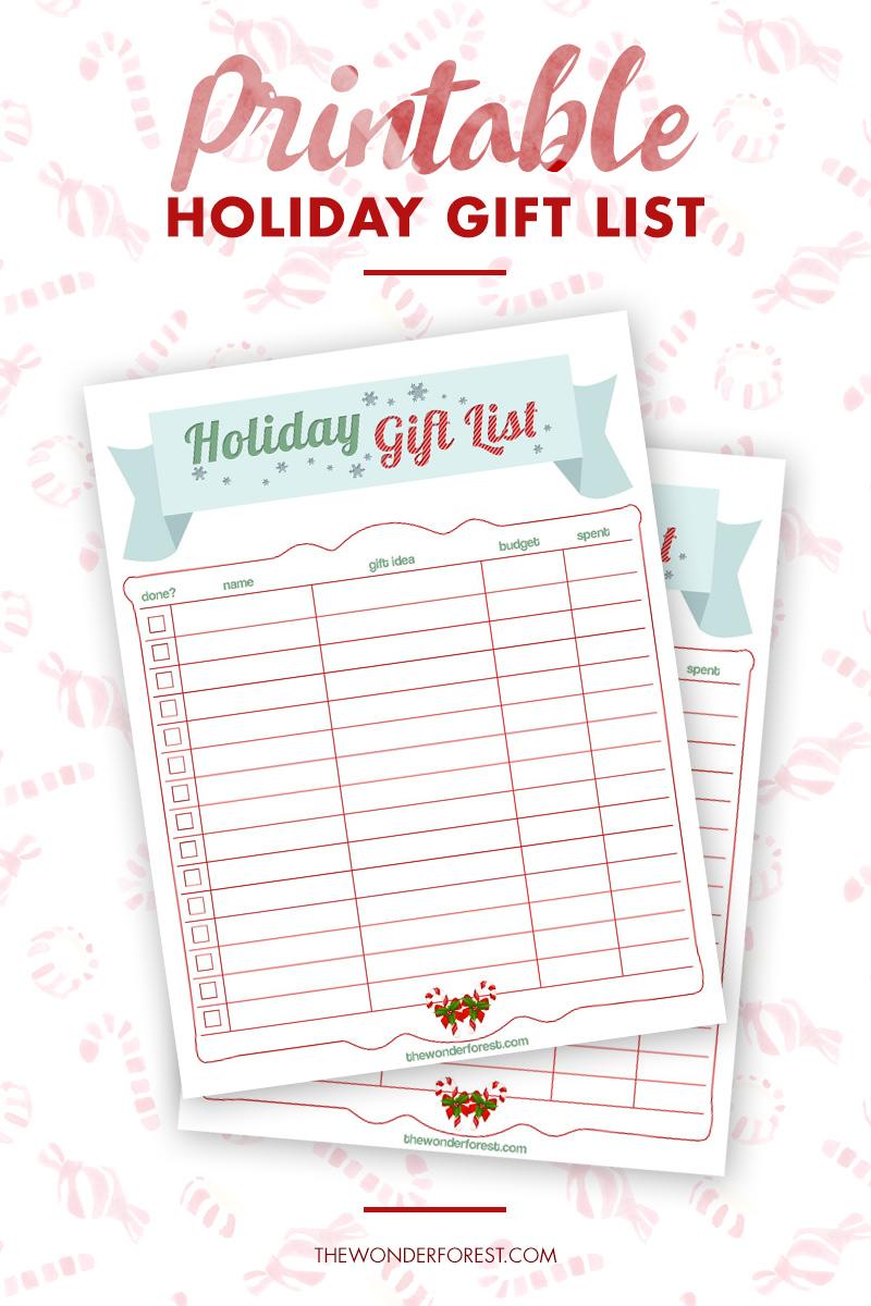 Free Holiday Gift List Printable