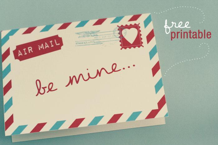 Air Mail Valentine Printable