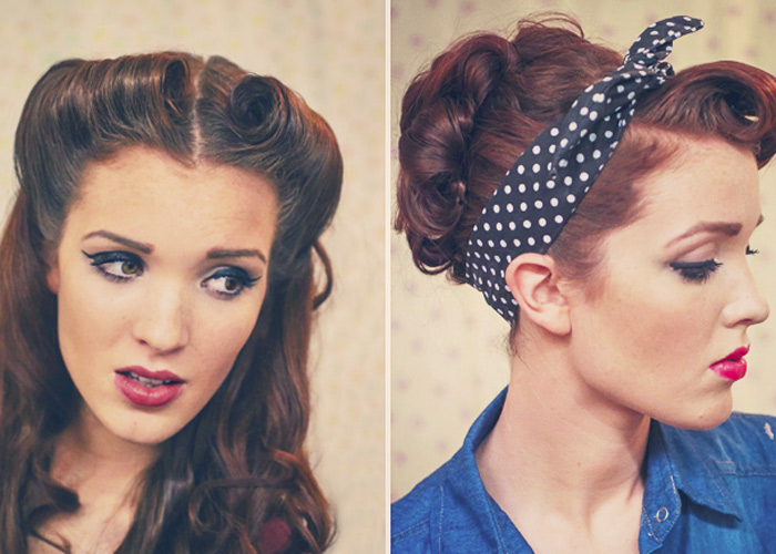Retro Pin Up Style Hair Tutorials By