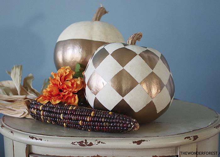 5 Days of Pumpkins: Checkered Gold Painted Pumpkin