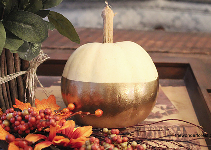 "5 Days of Pumpkins: Gold ""Dipped"" Colourblocked Painted Pumpkin"