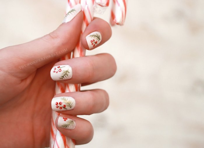 Berries and Spruce Holiday Nails