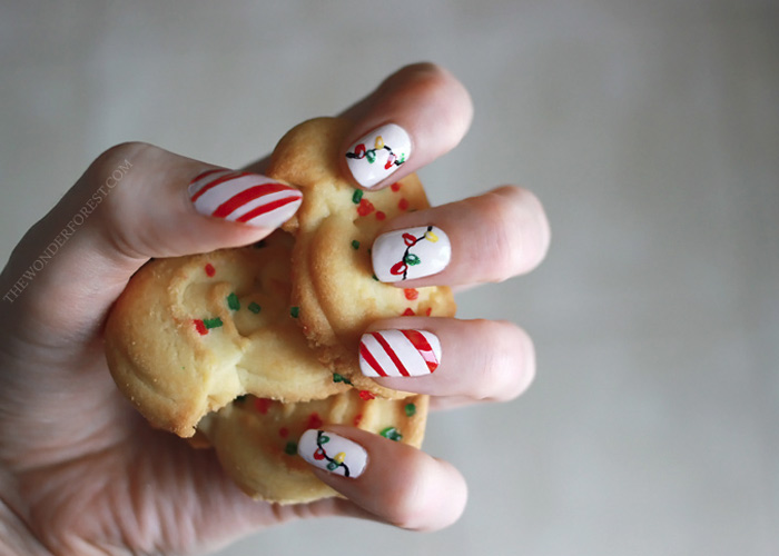 Christmas Nails: Candy Cane Stripes and Lights!