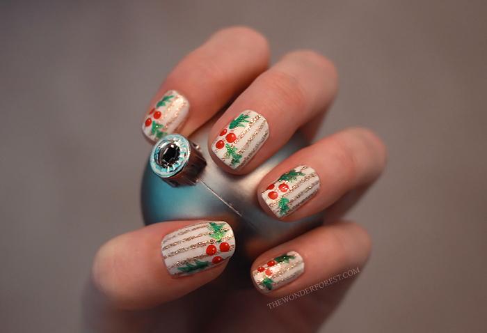 Holly and Pinstripes Holiday Nail Art