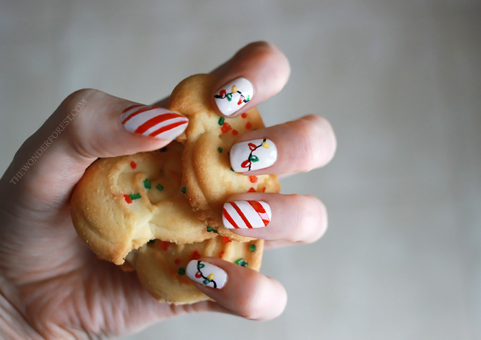 Candy Cane Lights Christmas Nails