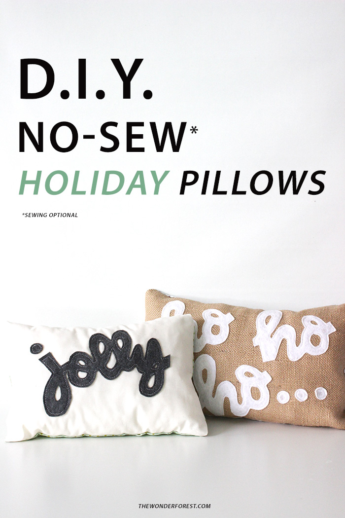 DIY No Sew Typographic Holiday Pillows!
