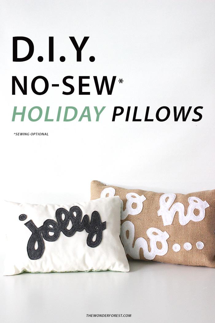 DIY No Sew Holiday Pillows