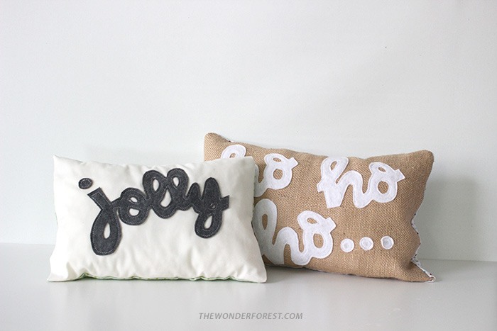 DIY No-Sew Lettered Holiday Pillows
