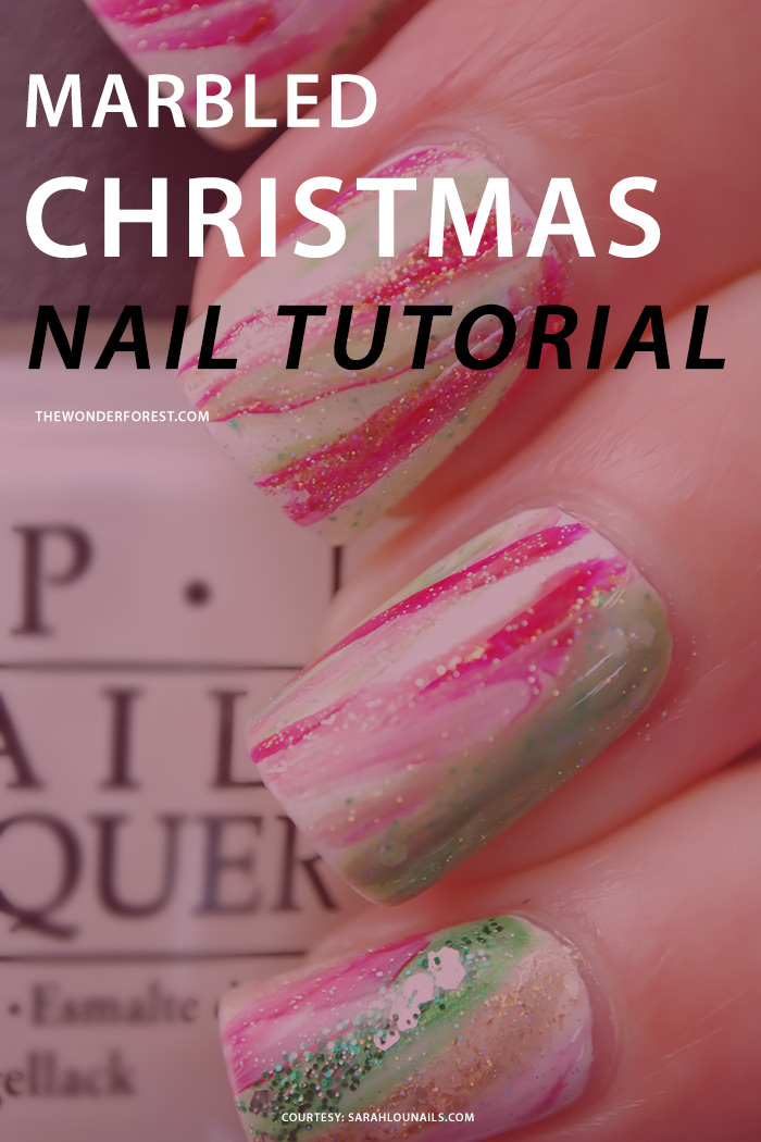 Marbled Christmas Nail Tutorial