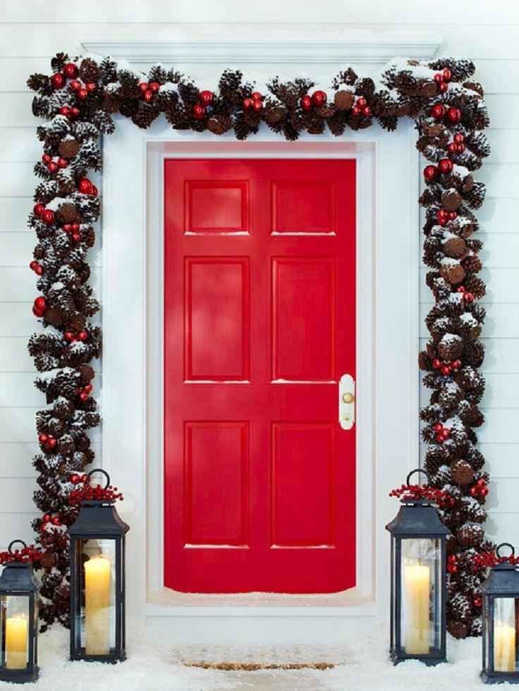 Christmas Garland Around Door with Lanterns
