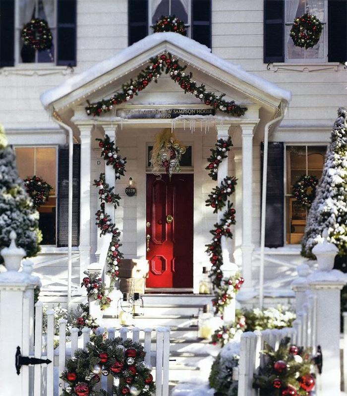 Christmas House with Garland Door