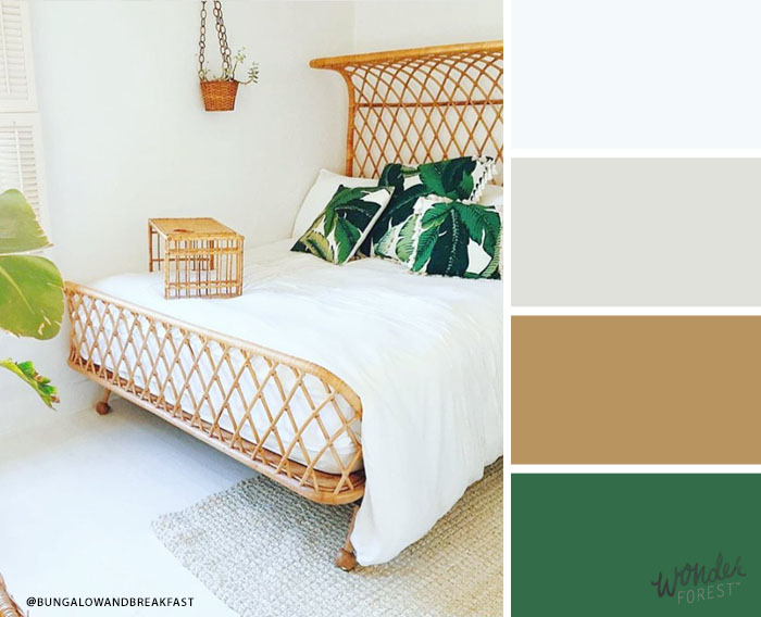 White Colour Palette with Green and Gold Accents