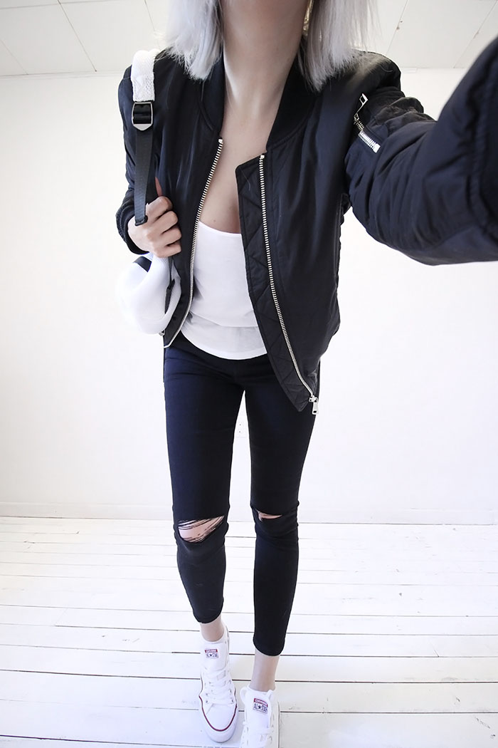 Black ripped jeans with black bomber  #style #streetstyle #fashion