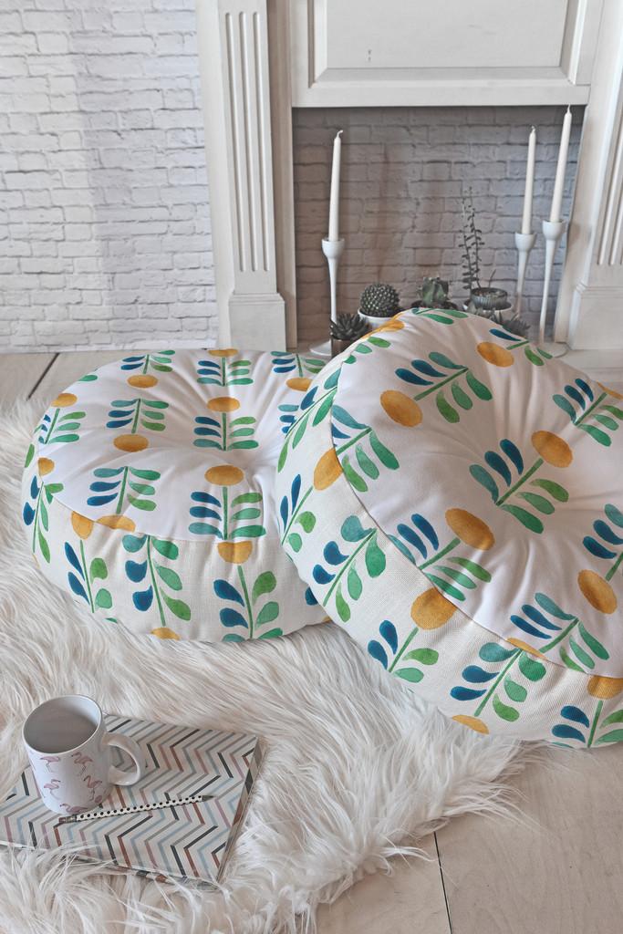Wonder Forest Retro Blooms Floor Pillow Round