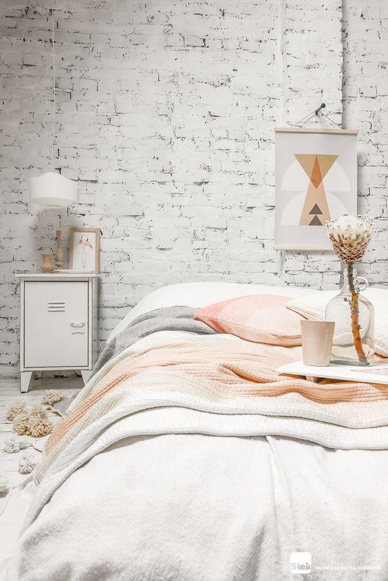White, grey, and peach decor