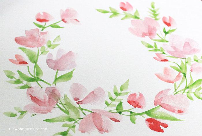 Watercolour Floral Wreath Tutorial