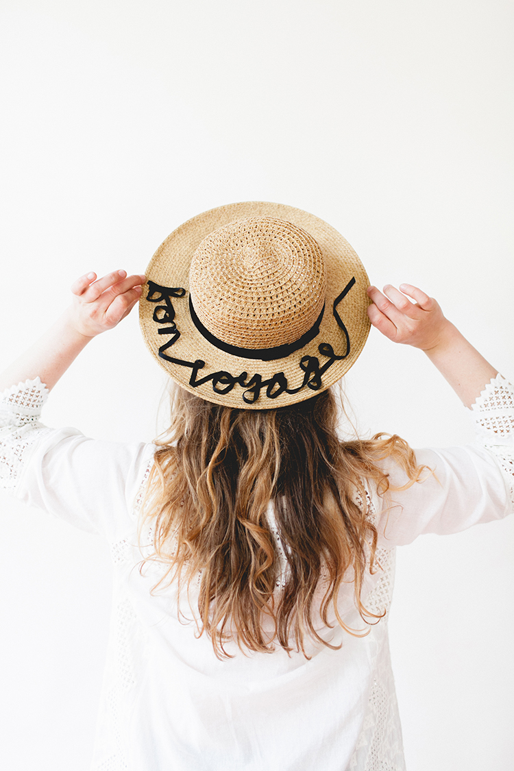appliquéd ribbon statement sunhat