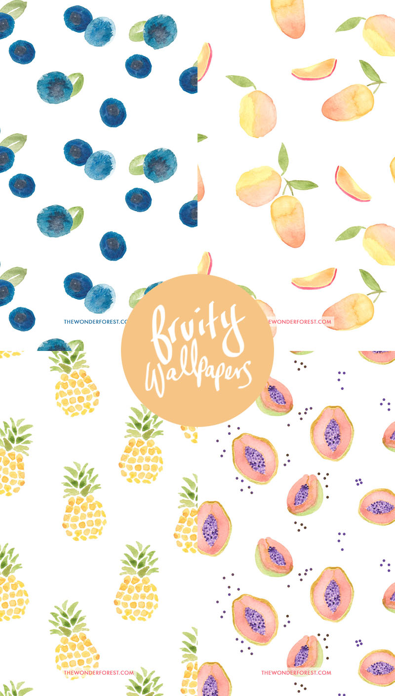 FREE Watercolour Fruit iPhone Wallpapers
