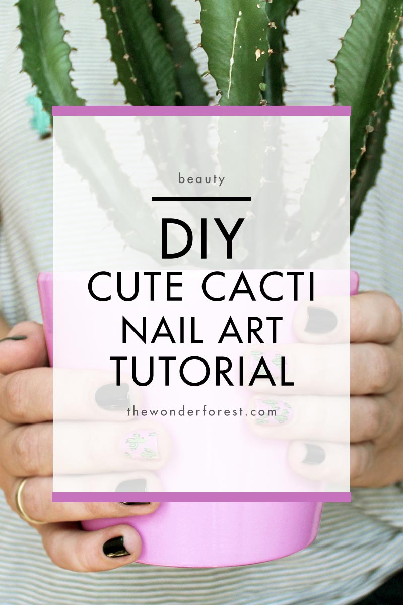 DIY Cute Cacti Nail Art Tutorial