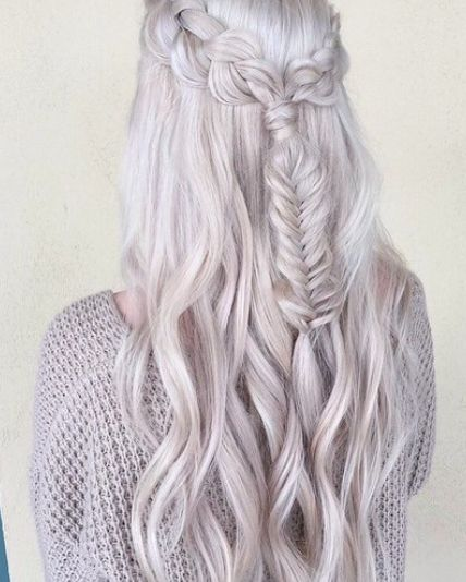 Silver Fishtail Braid for Long Hair