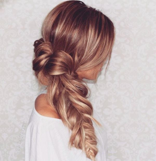 Messy side fishtail braid