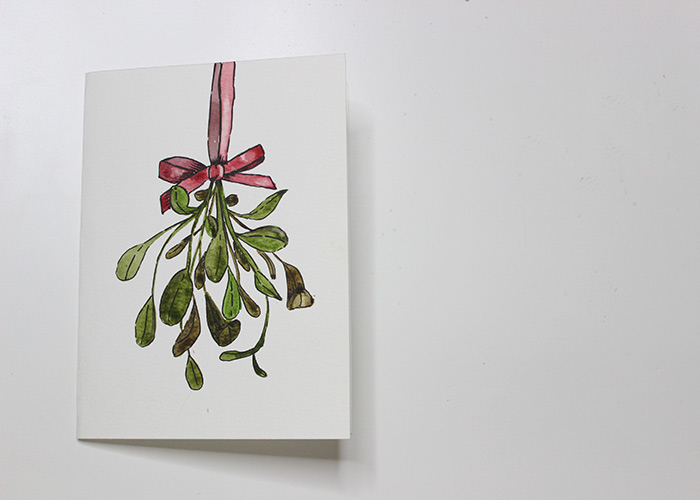 Watercolor Christmas Cards.Paint With Me Mistletoe Watercolour Christmas Card Tutorial