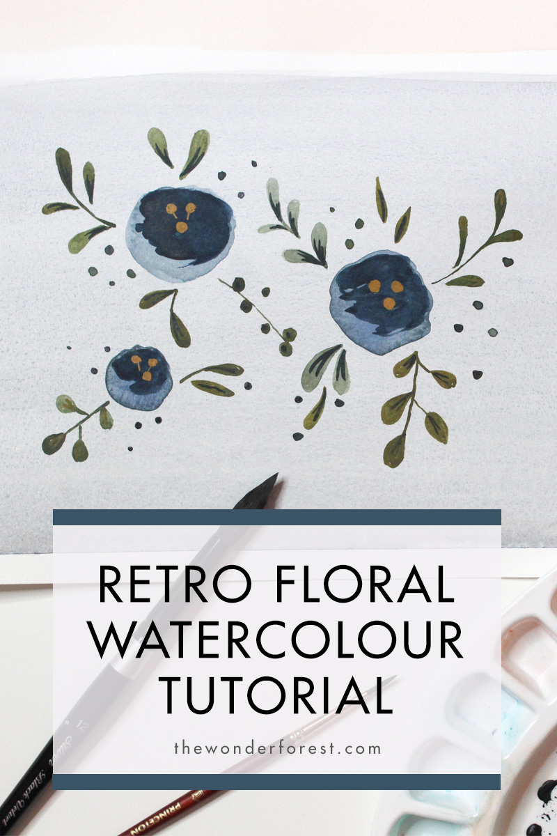 Retro Flowers Watercolour Tutorial