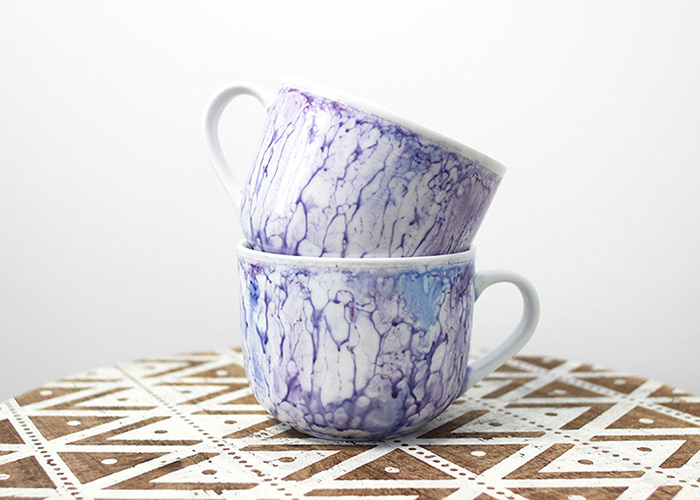 DIY Watercolour Painted Marble Mugs