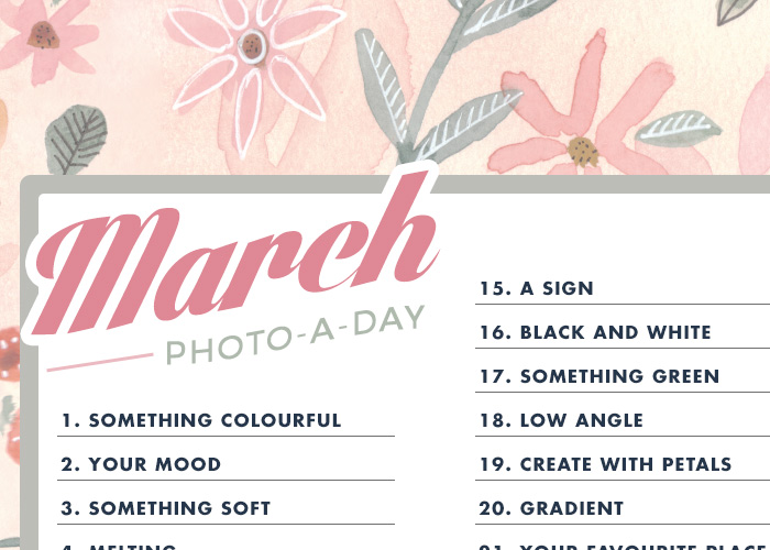 March: Photo-a-Day Challenge for Instagram