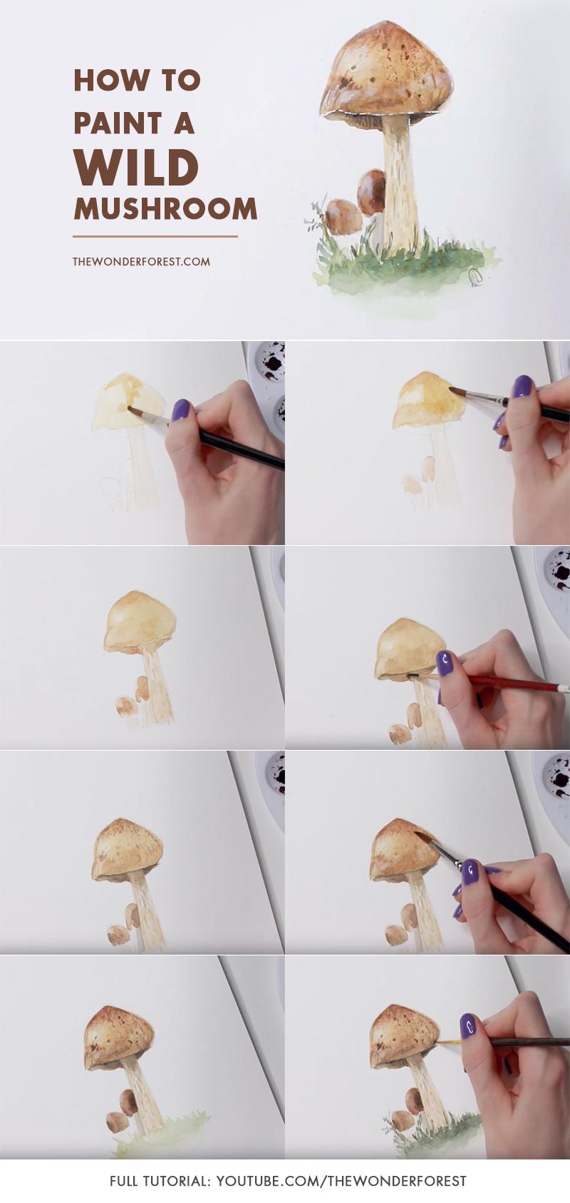 Watercolour Tutorial: Wild Mushroom
