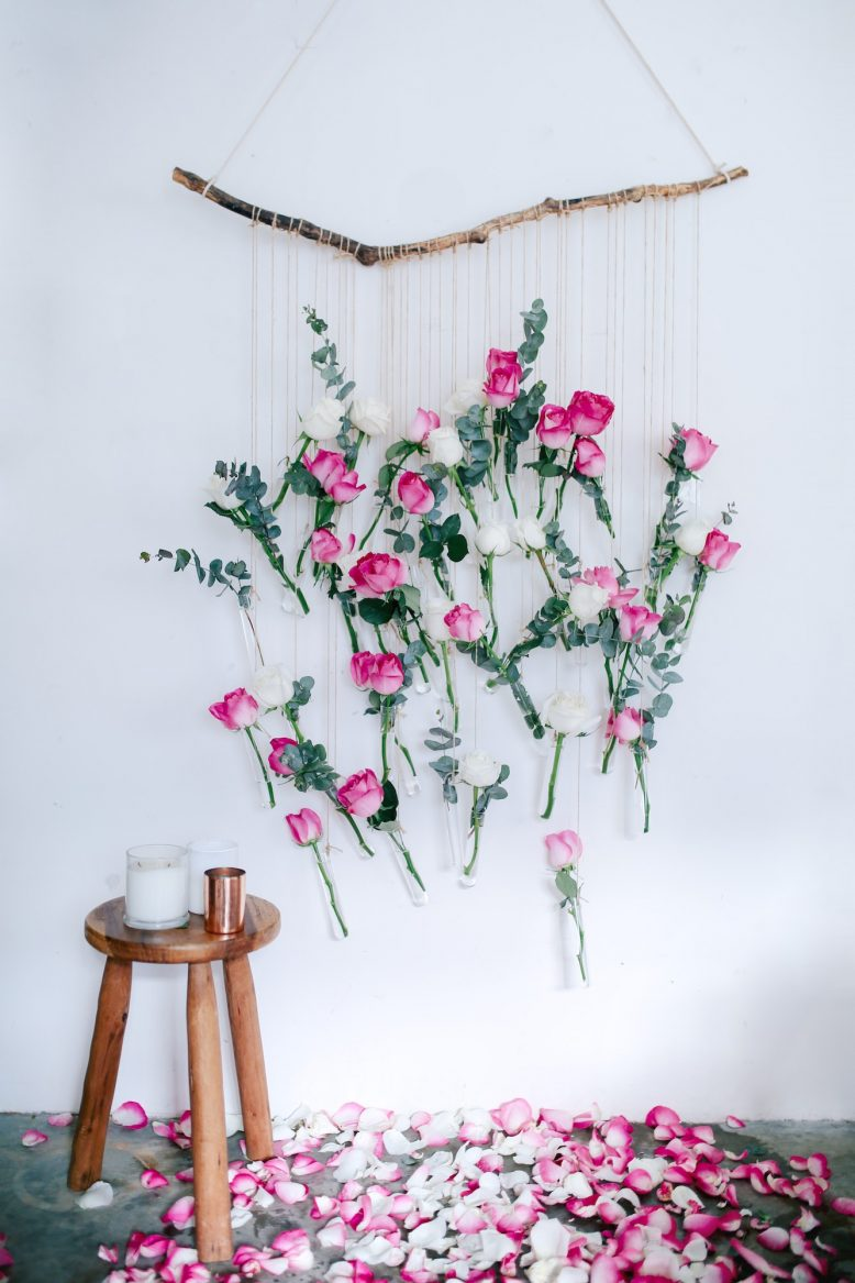 DIY Rose Floral Wall Hanging