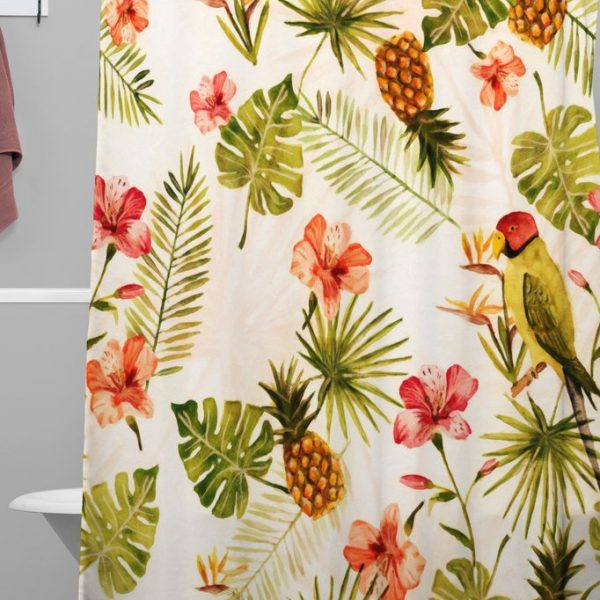 Totally Tropical Woven Shower Curtain by Wonder Forest