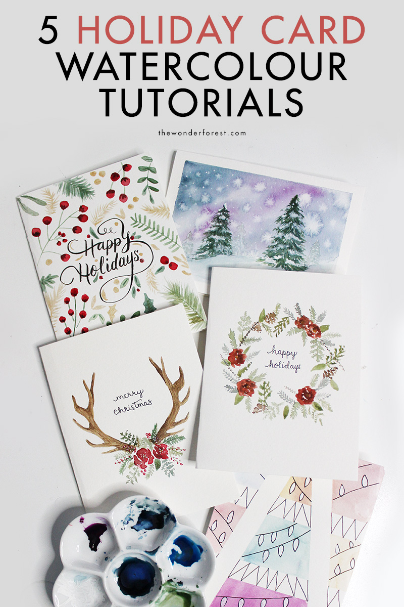 5 Watercolour Tutorials for Holiday Cards