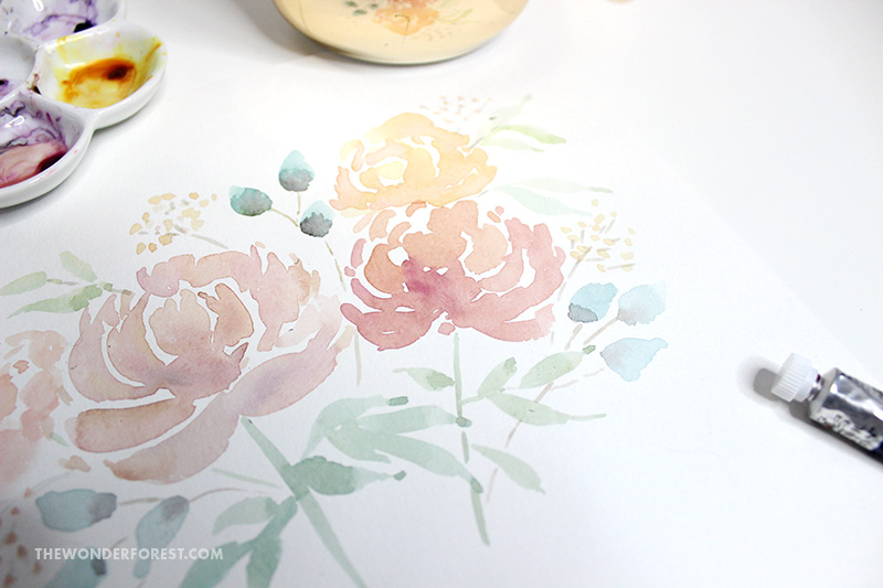 Watercolour Loose Floral Peonies