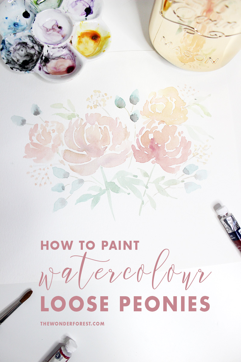 How To Paint Peonies with Watercolour