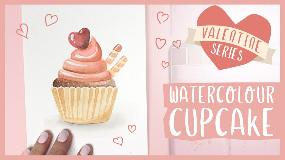 Valentine Cupcake Watercolor Tutorial