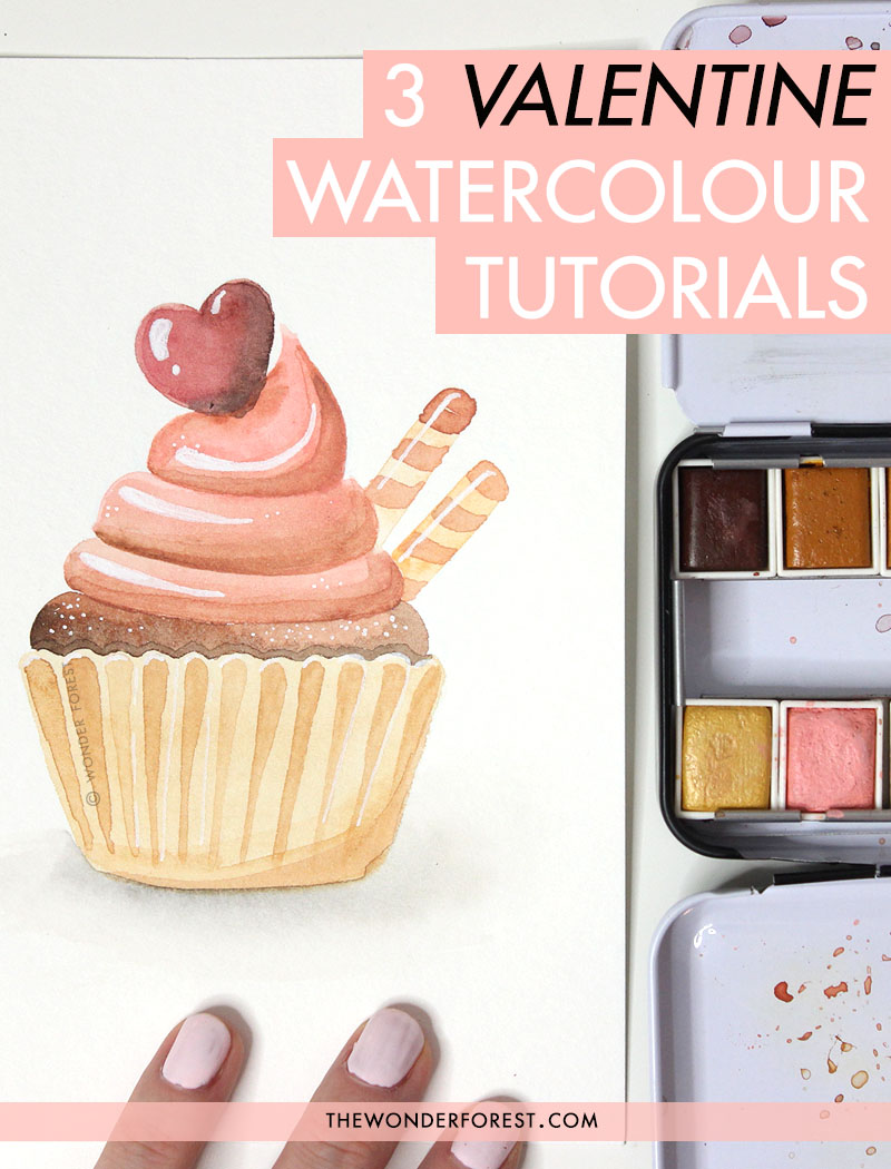 3 Valentine's Day Watercolour Tutorials