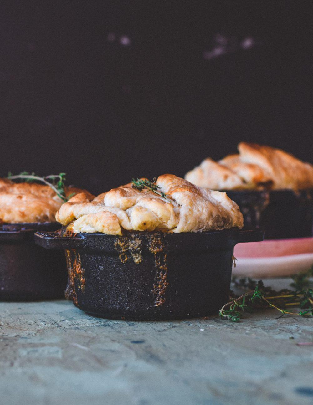 5 Comfort Vegetarian Recipes To Taste This Fall: Festive Crunchy and Creamy Onion + Mushroom + Potato Pot Pies