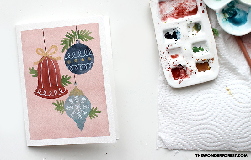 Paint a Christmas Ornament Card with Watercolour