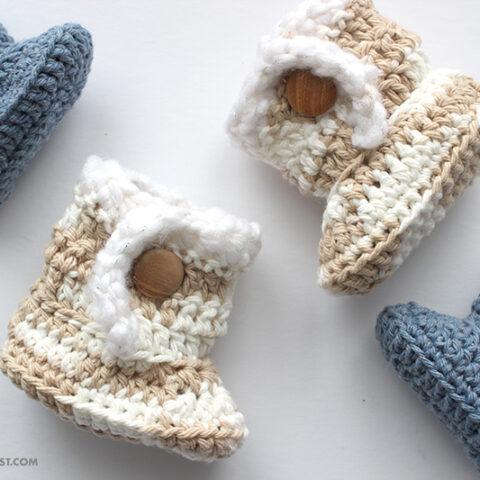 Sheepskin Style Crochet Baby Booties Pattern
