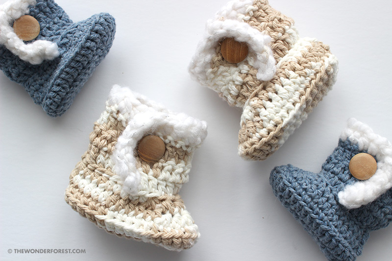 Sheepskin Style Crochet Baby Booties Pattern