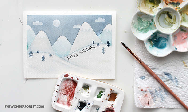 Snowy Mountains DIY Watercolour Christmas Card