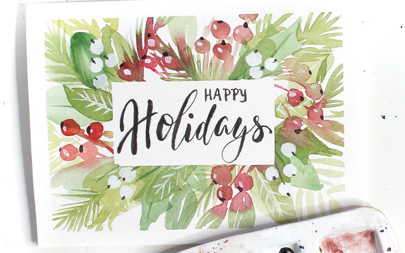 Holiday Foliage Watercolour Christmas Card Tutorial