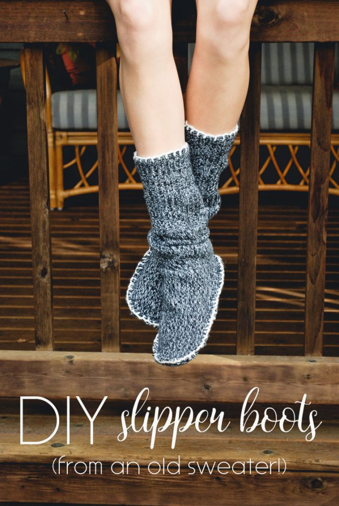 DIY Slipper Boots from a Sweater