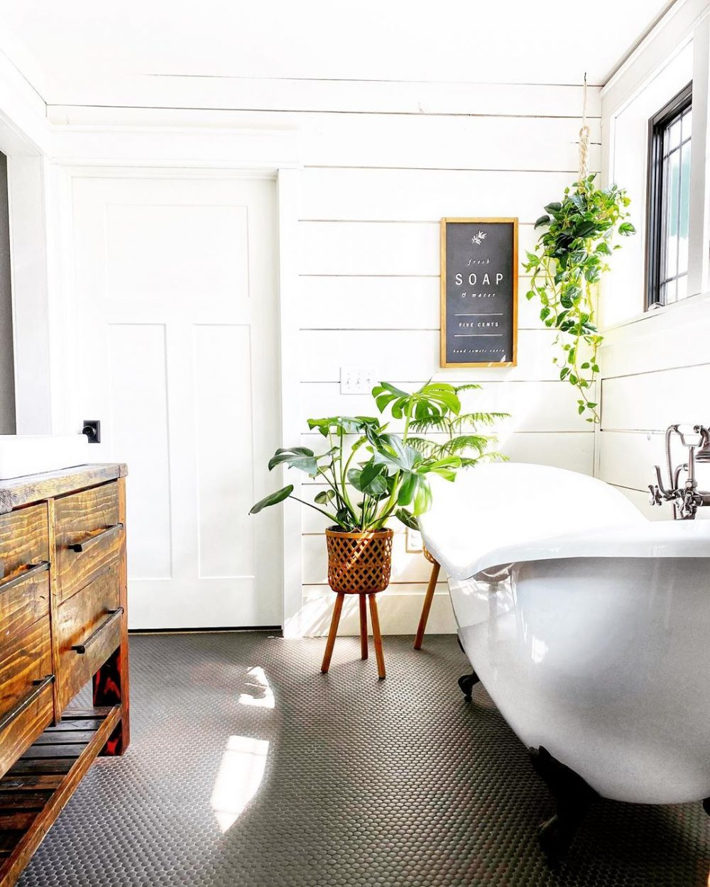 White minimal farmhouse bathroom