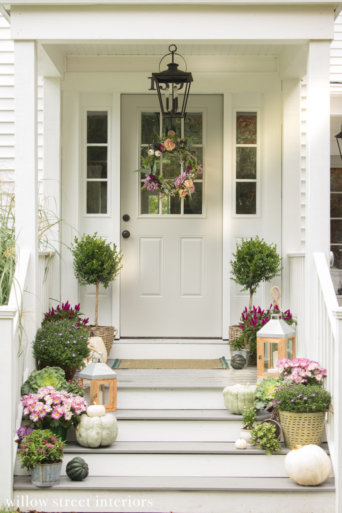 Pink and Green Fall decor